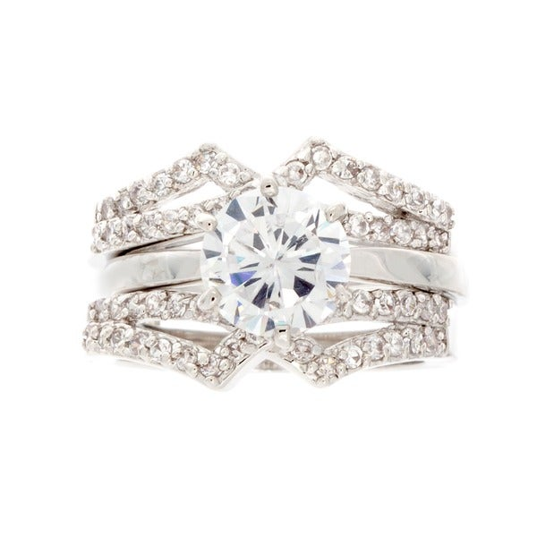 NEXTE Jewelry Silvertone Cubic Zirconia Two-piece Ring