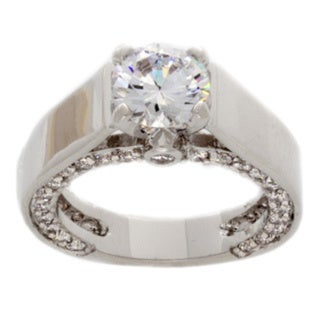 NEXTE Jewelry Silvertone Clear Cubic Zirconia Supreme Solitaire Ring