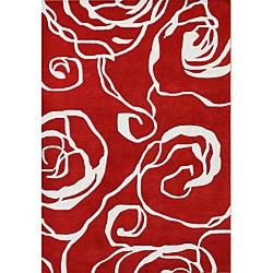Handmade Sabrina Red New Zealand Wool Rug (5' x 8')