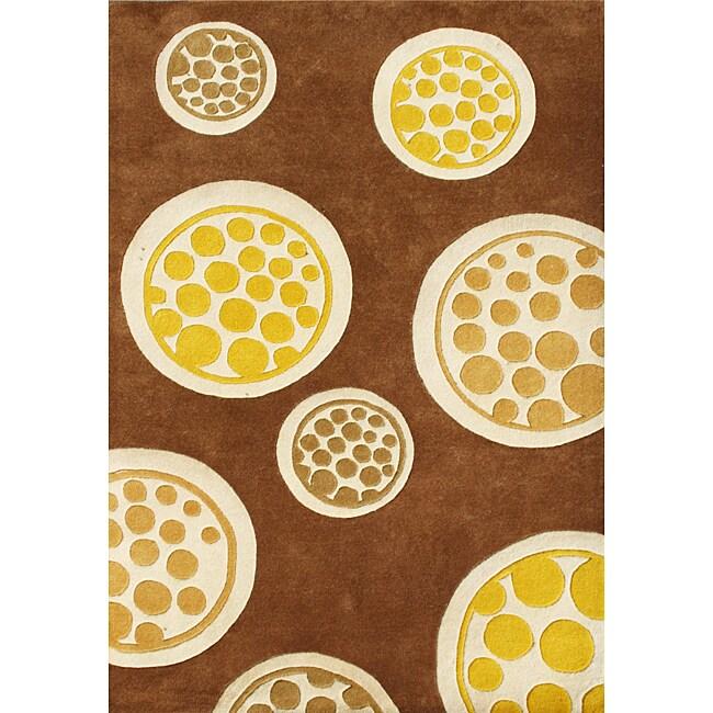 Handmade Horizon Metro Circles Brown Wool Rug (5' x 8')