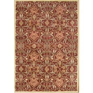 Alliyah Handmade Burgundy New Zealand Blend Wool Rug (4' x 6')