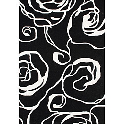 Handmade Sabrina Black New Zealand Wool Rug (5' x 8')