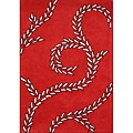 Handmade Sabrina Red New Zealand Blend Wool Rug (8' x 10')