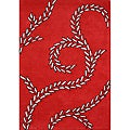 Handmade Sabrina Red New Zealand Blend Wool Rug (5' x 8')