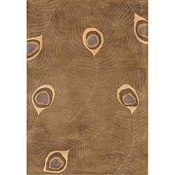 Alliyah Handmade Peacock Brown New Zealand Blend Wool Rug (4' x 6')