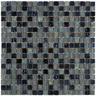 Somertile Reflections Mini 0.625-inch Dusk Glass/ Stone Mosaic Tiles (Pack of 10)