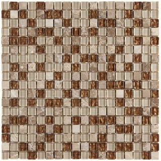 Somertile Reflections Mini 0.625-inch Caramel Glass/ Stone Mosaic Tiles (Pack of 10)