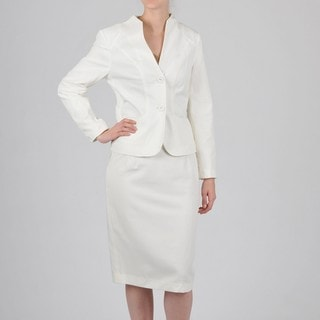 Signature by Larry Levine Women's Cream Skirt Suit