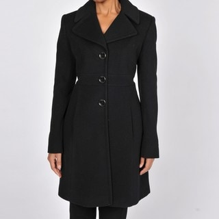 Via Spiga Women's Black Wool and Cashmere Walking Coat