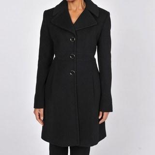 Via Spiga Women's Black Wool and Cashmere Walking Coat