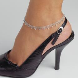 Toscana Collection High-polish Sterling Silver Beaded Anklet