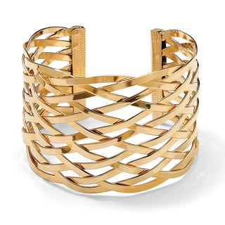 PalmBeach Lattice Cuff Bracelet in Yellow Gold Tone Bold Fashion