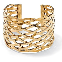 Toscana Collection Yellow Goldtone Lattice Cuff Bracelet