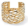 PalmBeach Yellow Goldtone Lattice Cuff Bracelet Bold Fashion