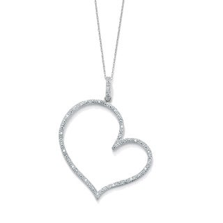 """PalmBeach 1/10 TCW Round Diamond Platinum over Sterling Silver Heart-Shaped Pendant and Rope Chain 18"""""""