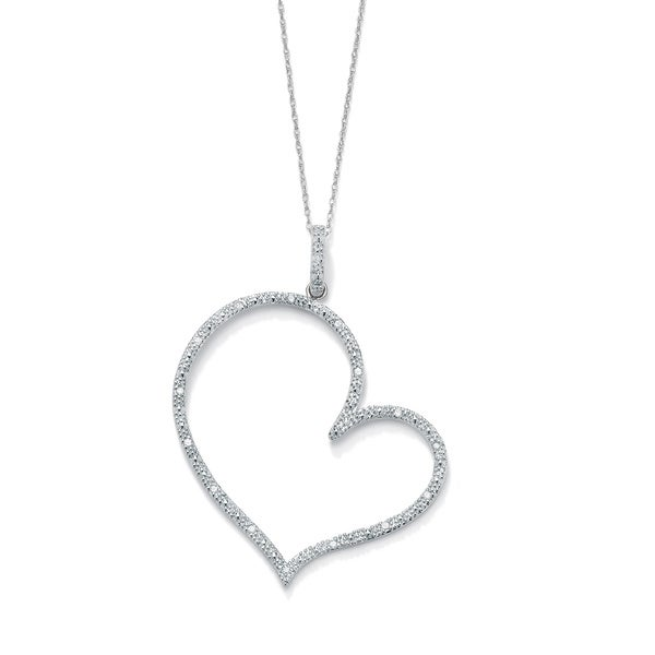 PalmBeach 1/10 TCW Round Diamond Platinum over Sterling Silver Heart-Shaped Pendant and Rope Chain 18""