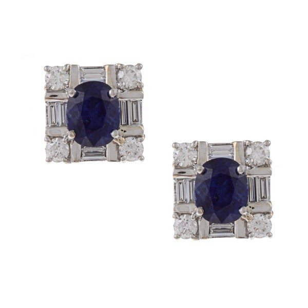 Kabella 18k White Gold Sapphire and 7/8ct TDW Diamond Earrings (G-H, SI1-SI2)