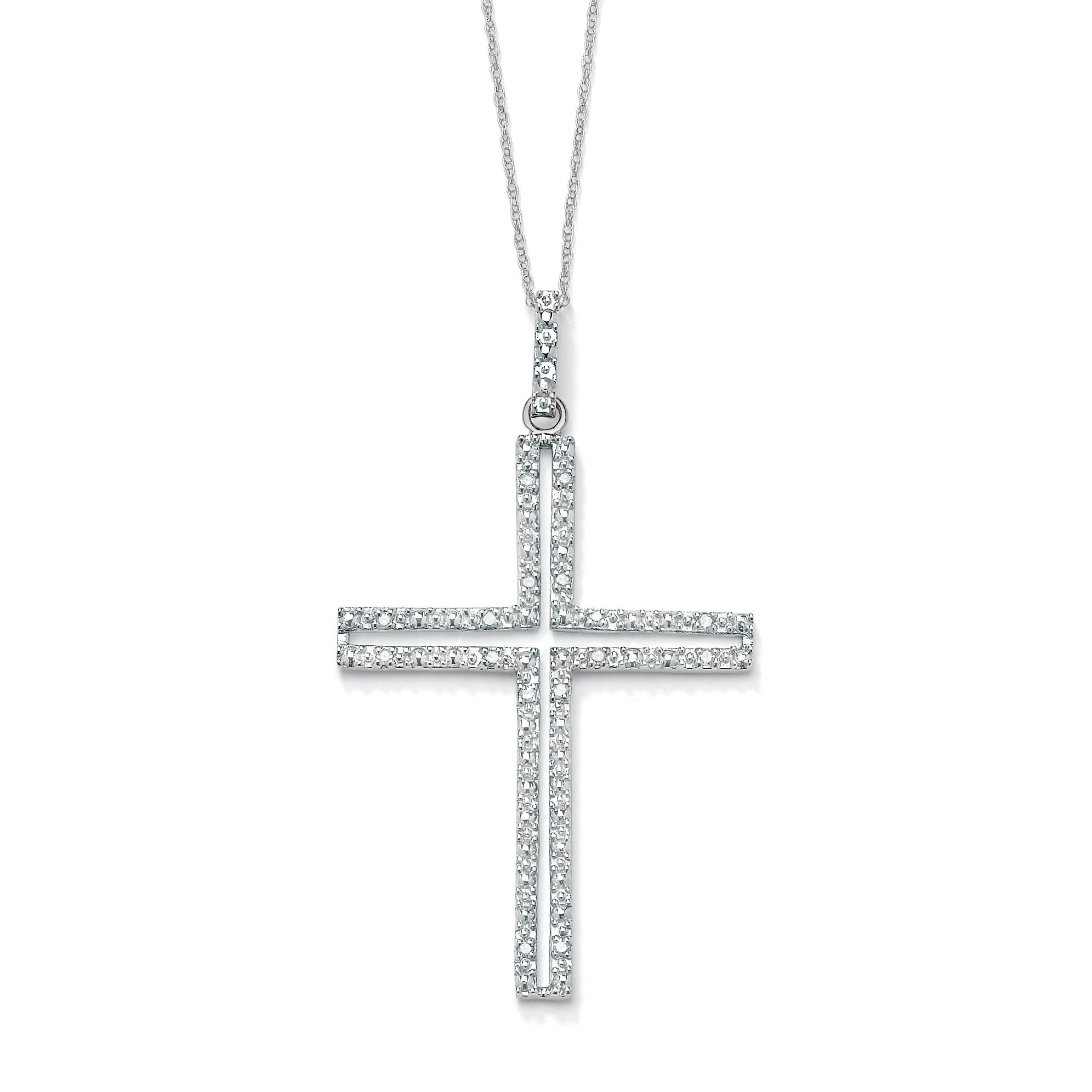 PalmBeach 1/10 TCW Round Diamond Platinum over Sterling Silver Religious Cross Pendant and Rope Chain 18""