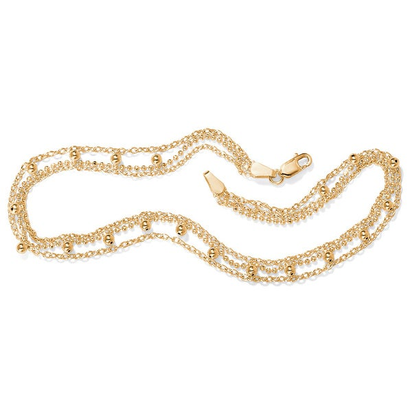 PalmBeach 18k Gold over Silver Beaded Anklet Tailored