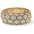 Isabella Collection 14k Goldplated Crystal Hexagon Bangle Bracelet
