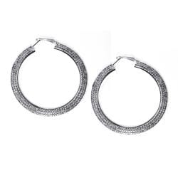 Lillith Star Silvertone Clear-Crystal Clip-In Hoop Earrings