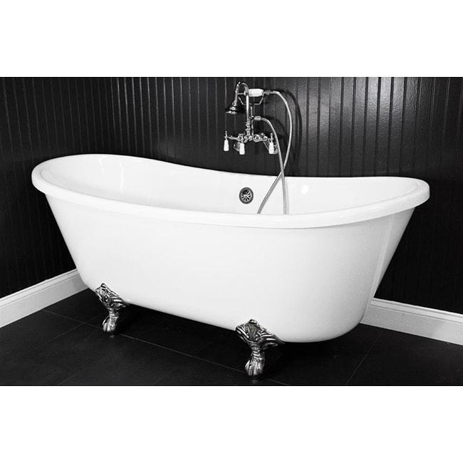 Spa Collection 73-inch Bateau Double-slipper Clawfoot Tub and Faucet Pack