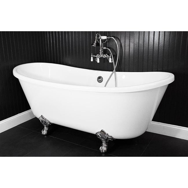 Spa Collection 59-inch Bateau Clawfoot Tub and Shower Pack