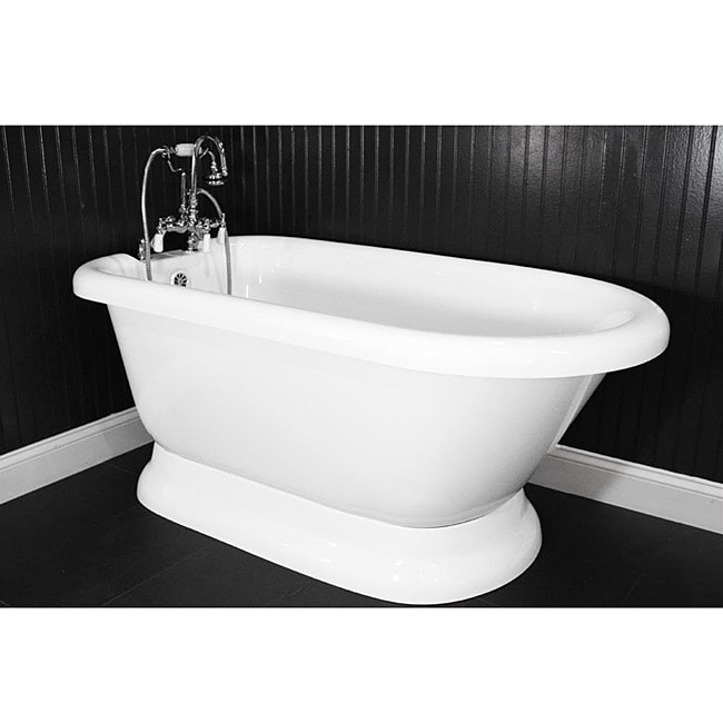 Spa Collection 56-inch Classic Style Pedestal Tub and Faucet Pack ...