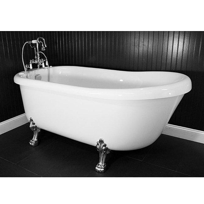 Spa Collection 73-inch Air Massage Slipper Clawfoot Tub Package