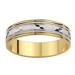 14k Two-tone Gold Etched 'X' Milligrain Wedding Band