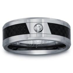 Tungsten Men's Diamond Accent Carbon Fiber Inlay Band