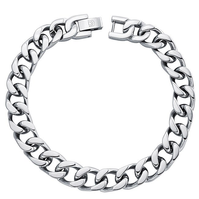 Stainless Steel Men's 9.5mm Flat Curb Link Necklace (24-inch)