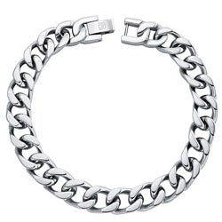 Stainless Steel Men's 8.5-inch Flat Curb Link Bracelet