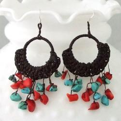 Cotton Rope Turquoise and Coral Chandelier Dangle Earrings (Thailand)