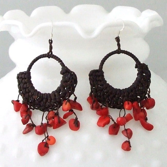 Cotton Rope Red Coral Chandelier Dangle Earrings Thailand