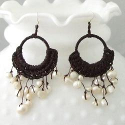 Cotton Rope FW Pearl Chandelier Dangle Earrings (4-10 mm) (Thailand)