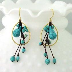 Brass Lovely Turquoise Teardrop Dew Dangle Earrings (Thailand)