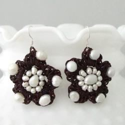 Cotton Rope and White Pearl Flower Dangle Earrings (3-8 mm) (Thailand)