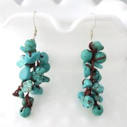Cotton Rope Cluster Turquoise Drop Dangle Earrings (Thailand)