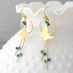Brass Finesse Butterfly Turquoise/ Crystal Dangle Earrings (Thailand)