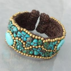 Brass and Cotton Rope Modern Oval Turquoise Cuff Bracelet (Thailand)