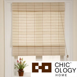 Chicology Roman Shade Cotton and Jute Fabric Privacy Kyoto Cappuccino Cream (36-inch x 72-inch)
