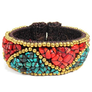 Brass and Cotton Triangle Pattern Turquoise and Coral Cuff (Thailand)