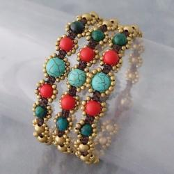 Set of 3 Brass and Cotton Turquoise/ Coral Jingle Bracelets (Thailand)