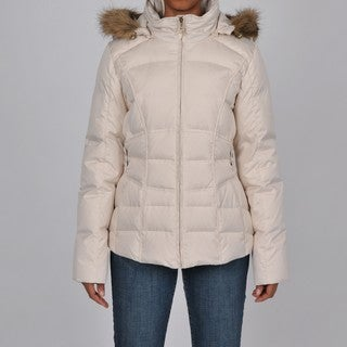 Larry Levine Women's Ivory Faux Fur-Trim Hooded Down Jacket
