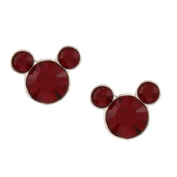 Disney's Mickey Mouse Sterling Silver Red Crystal Stud Earrings