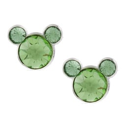 Disney's Mickey Mouse Sterling Silver Light Green Crystal Earrings