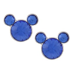 Disney's Mickey Mouse Sterling Silver Blue Crystal Earrings