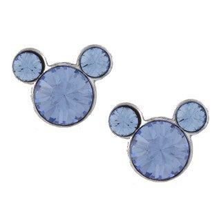Disney's Mickey Mouse Sterling Silver Light Blue Crystal Earrings