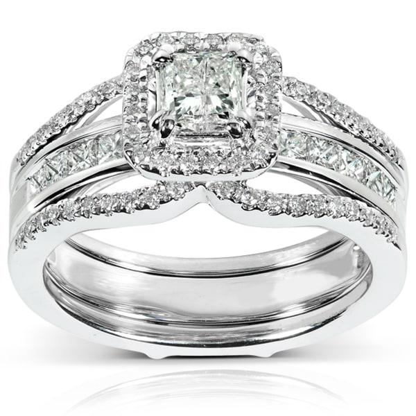 Annello 14k Gold 1 1/4ct TDW Princess Cut Diamond Bridal Ring Set (H-I, I1-I2)